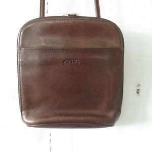 Fossil Brown Leather Crossbody Bag Wallet Organize